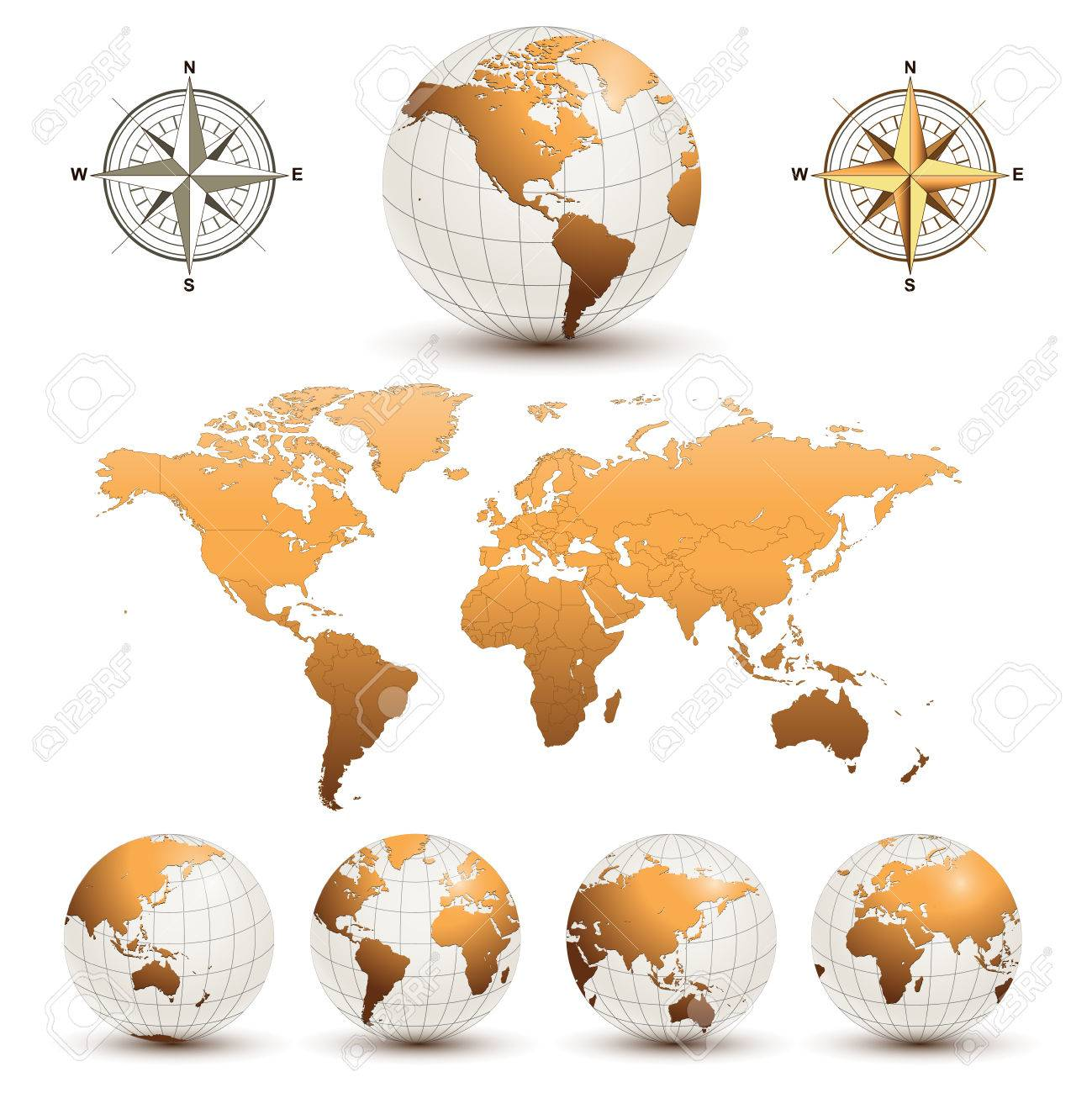 Earth globes with detailed world map Stock Vector - 8078052