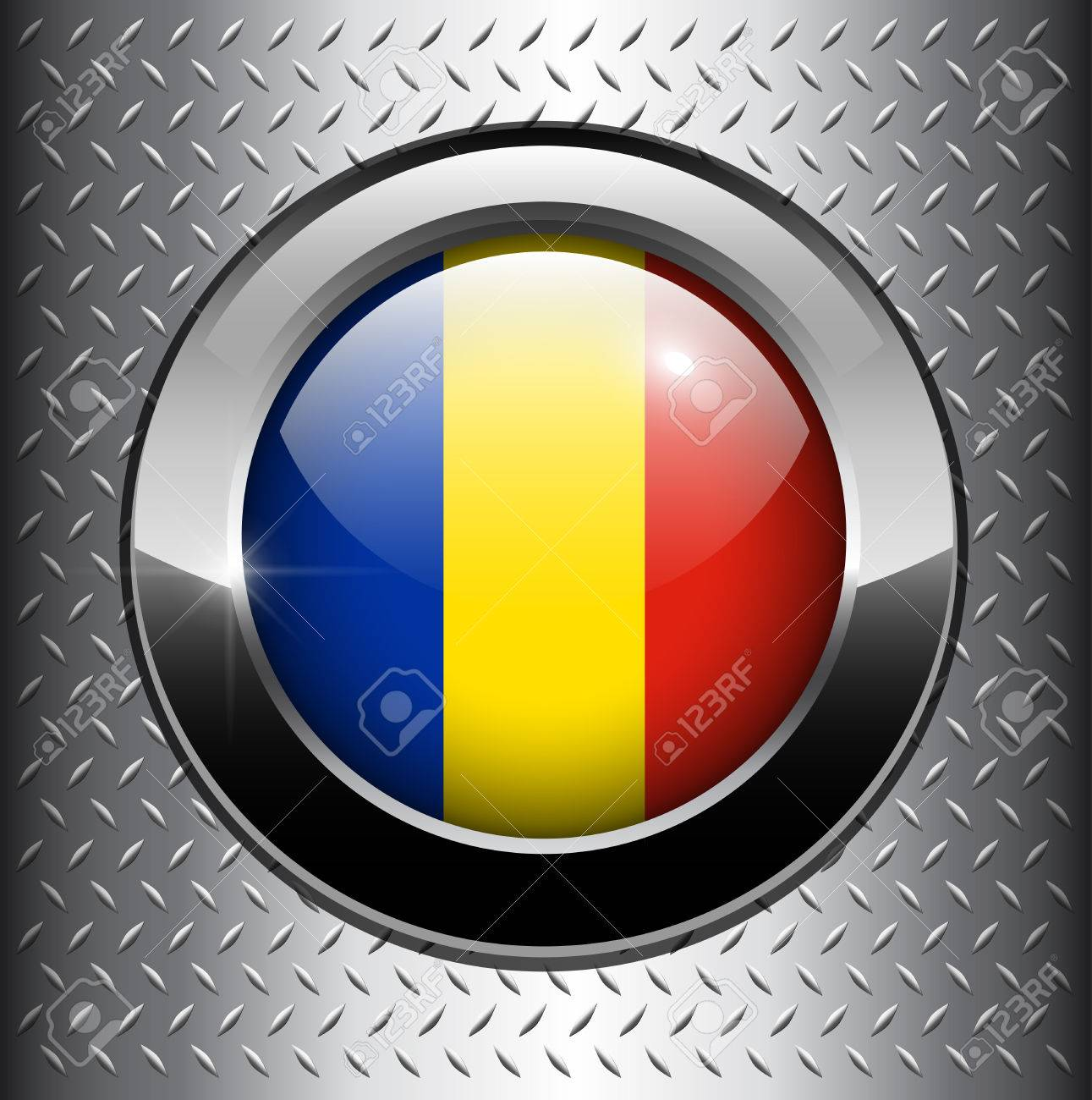 Flag of Romania button on metal background Stock Vector - 8290748