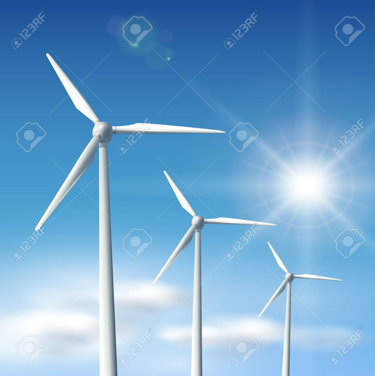 Wind turbines over blue sky with sun,   illustration. Stock Vector - 8290731