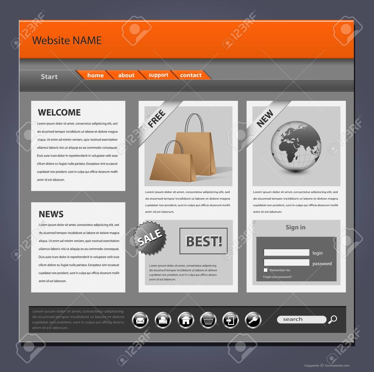 Website template, complex detailed design Stock Vector - 8379343