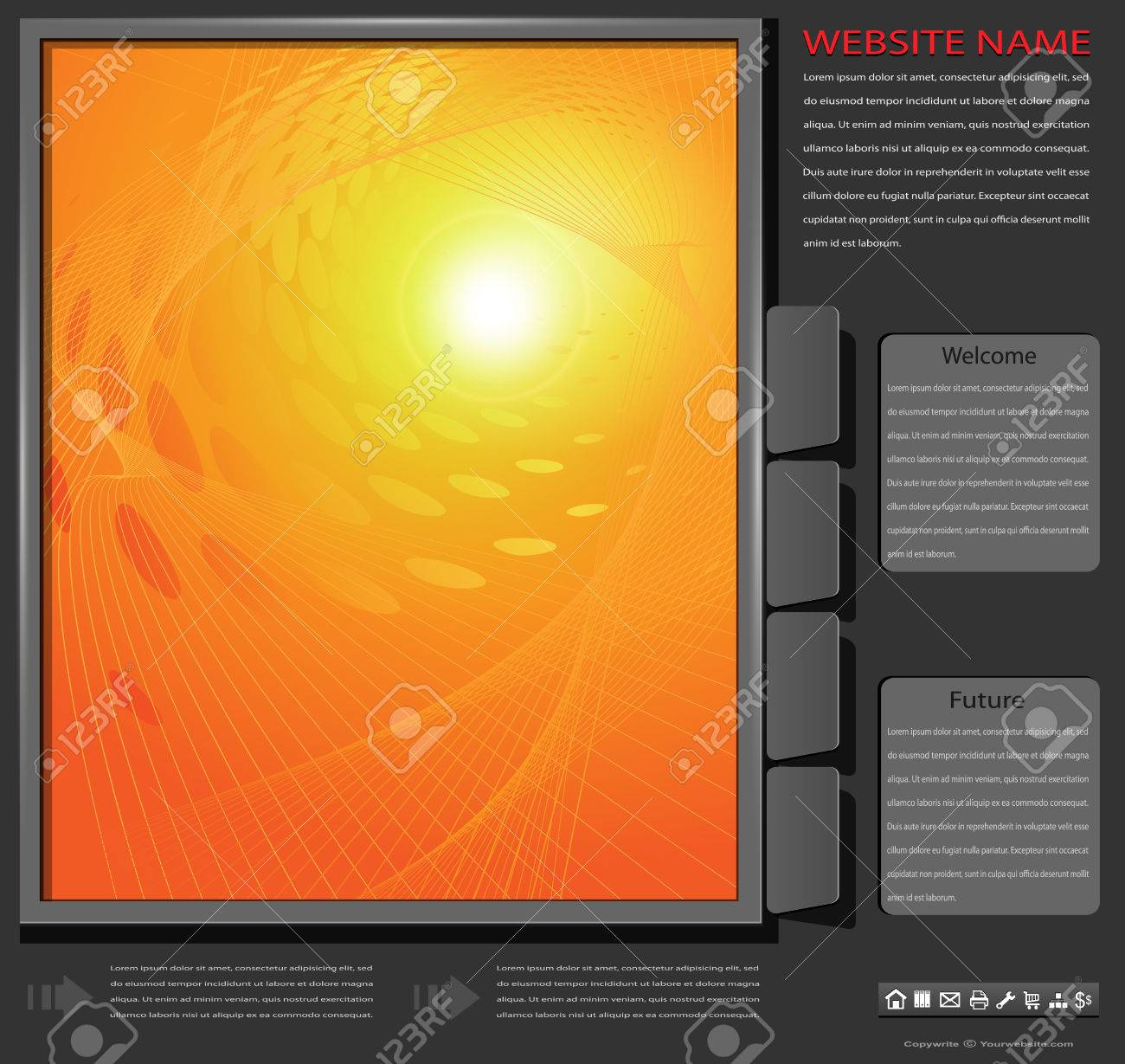 Website template, orange abstract on grey background, editable vector Stock Vector - 8846014