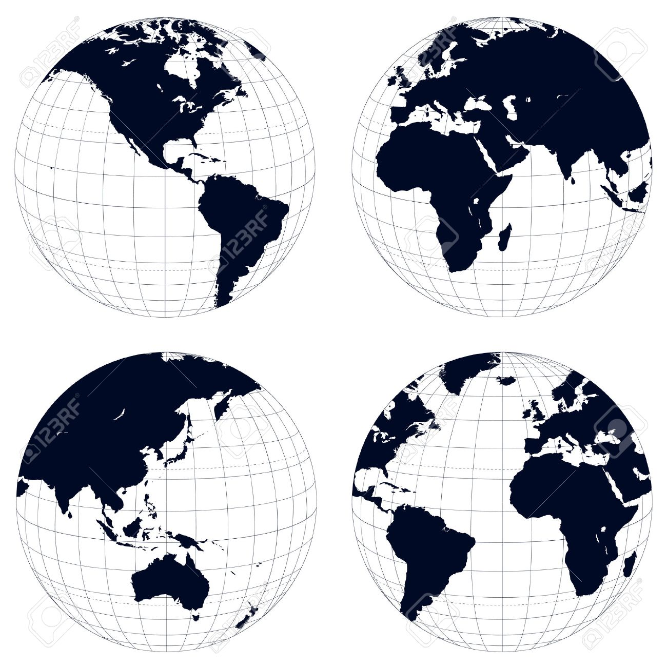 Earth globes, black and white detailed vector illustration. - 8958422