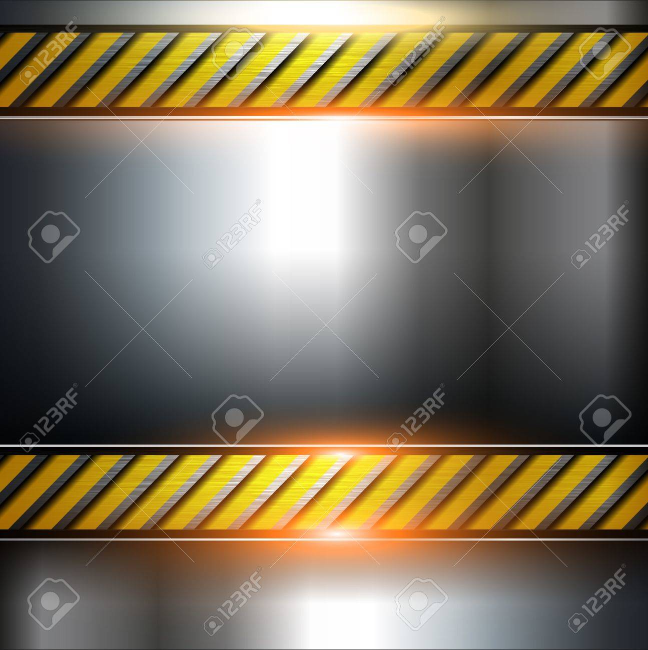 Abstract  background, metal template with warning stripe, vector. Stock Vector - 10478199