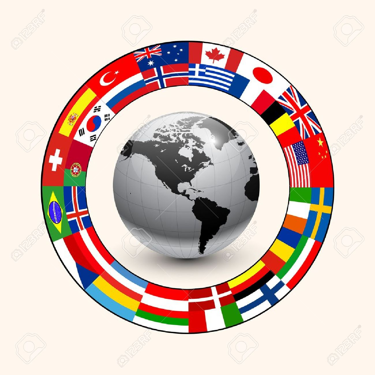 Business background, ring of flags around earth. Stock Vector - 10616525