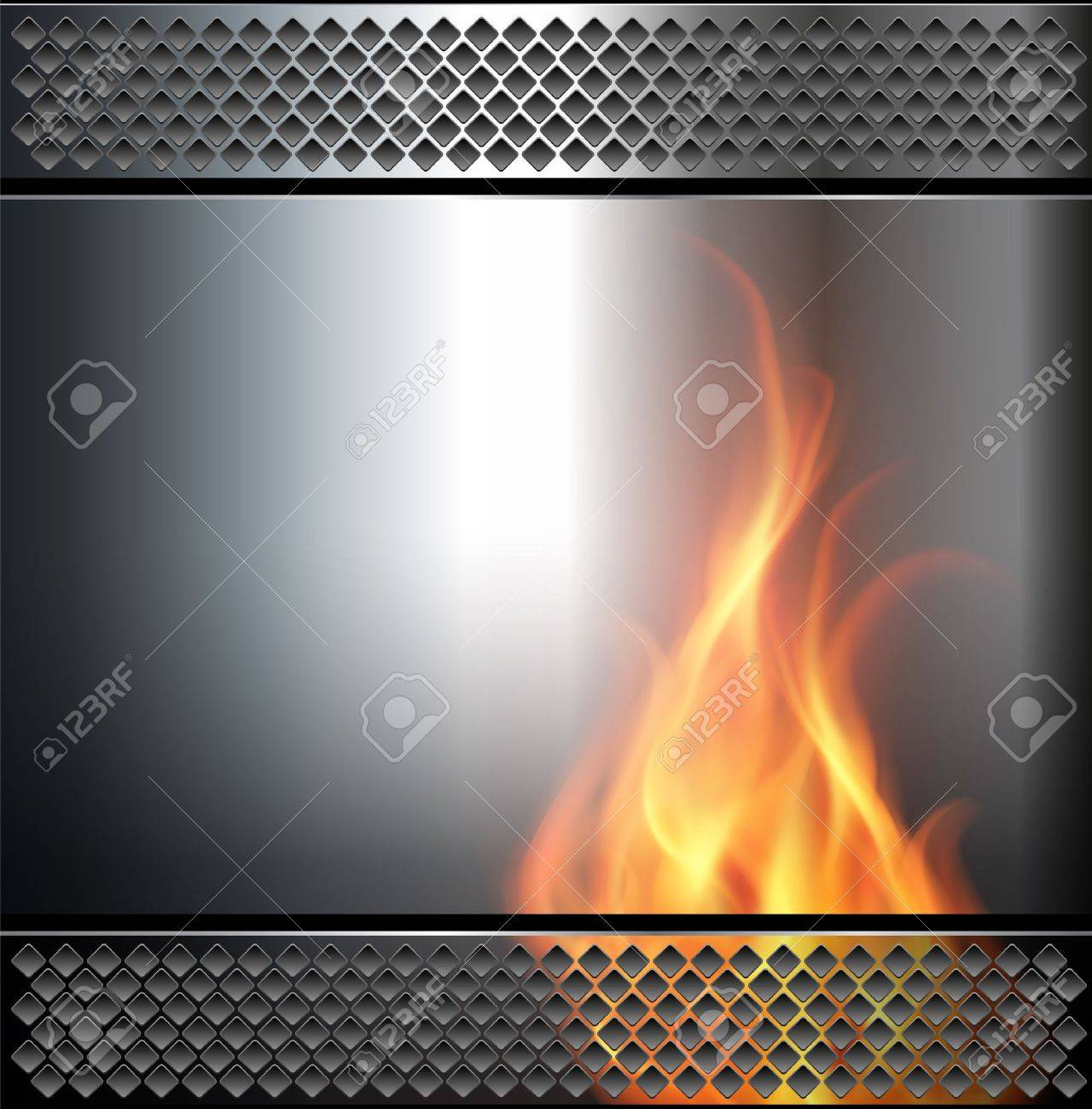 Abstract background, metallic with vector fire flame. - 10690352