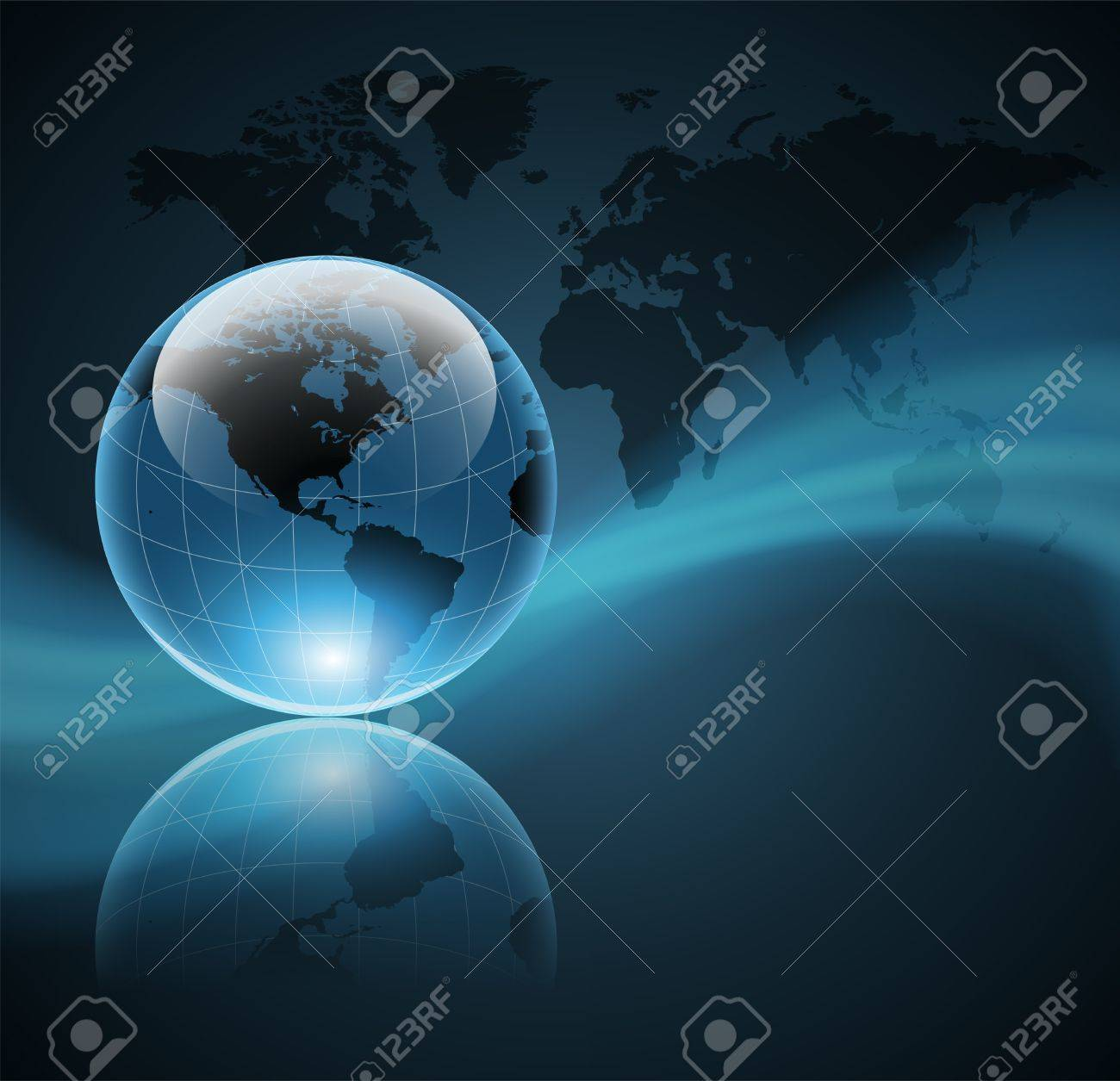 Abstract business background with world globe, vector Stock Vector - 10690351