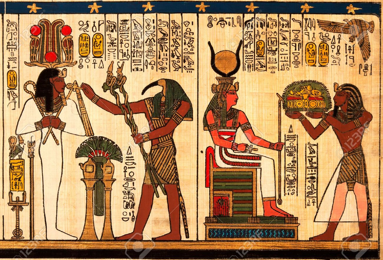 Egyptian Papyrus With Antique Hieroglyphs Stock Photo