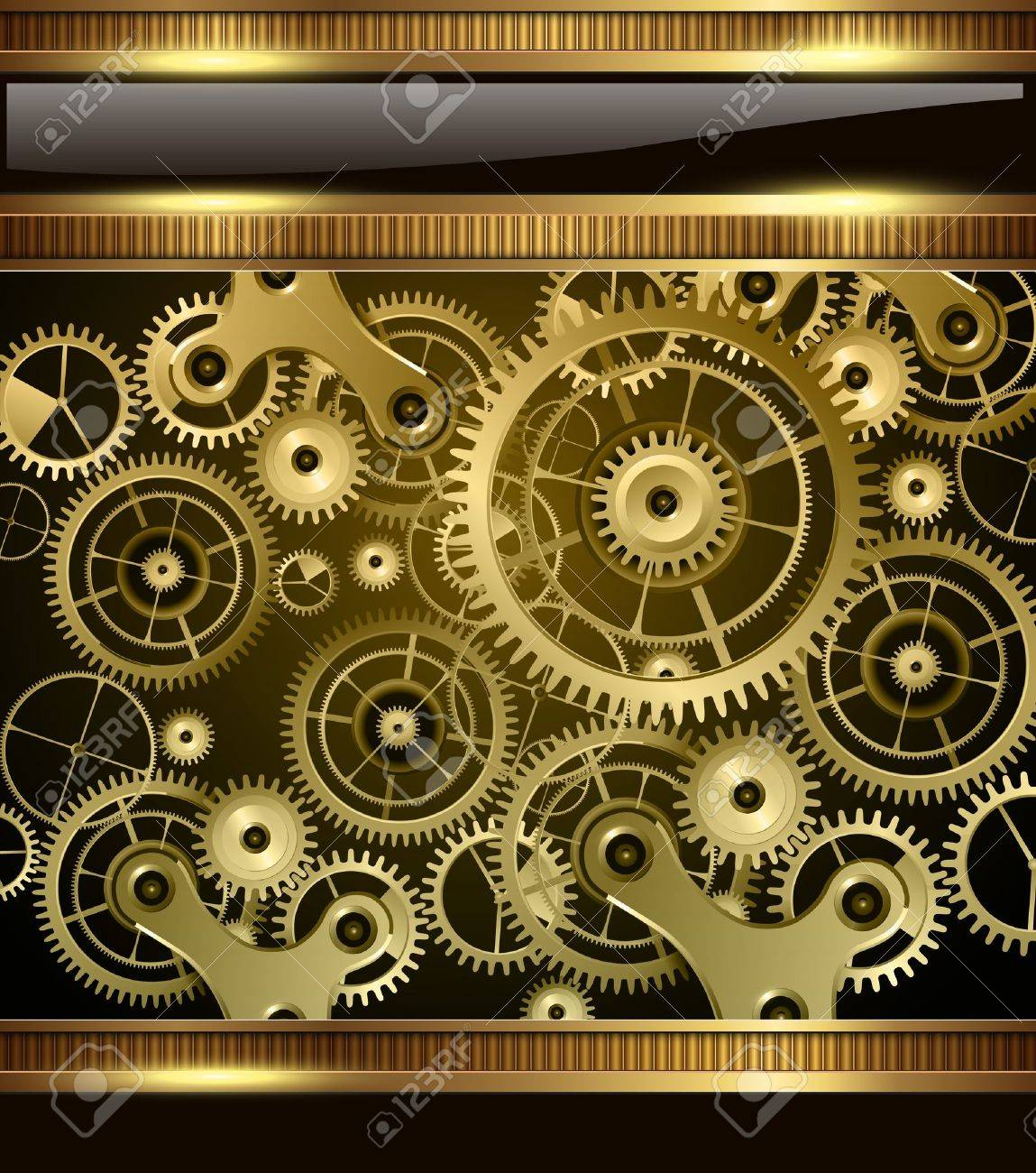 Abstract technology background gold machinery, vector
