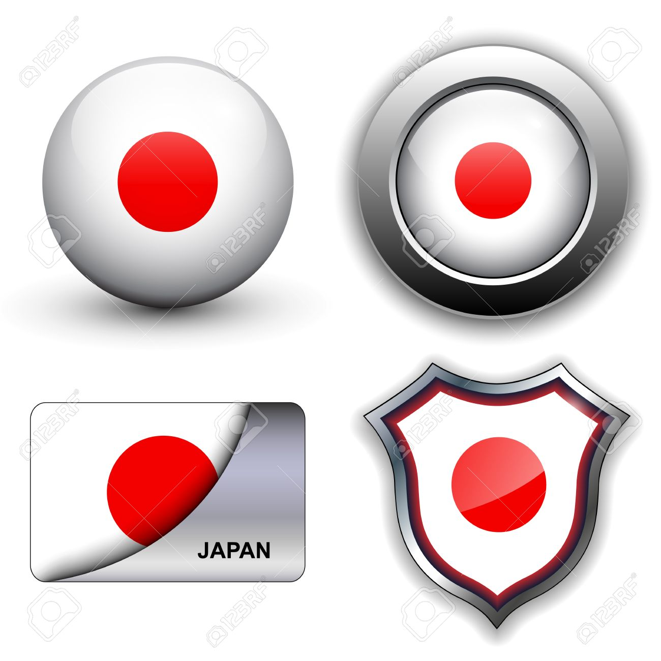 Japan flag icons theme. Stock Vector - 12905235