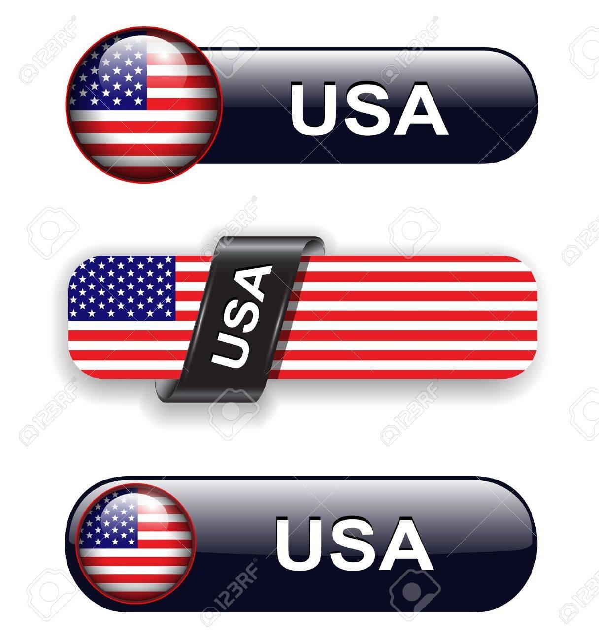 USA, american flag banners, icons theme. Stock Vector - 12905215