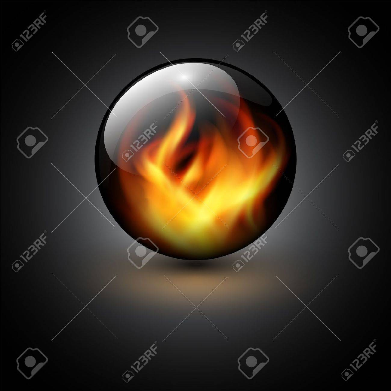 3D sphere with fire flames inside as vector background. - 13181642