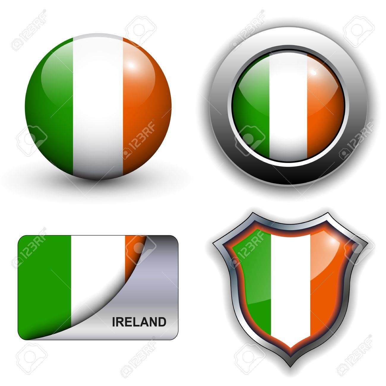 Ireland flag icons theme. Stock Vector - 13272273