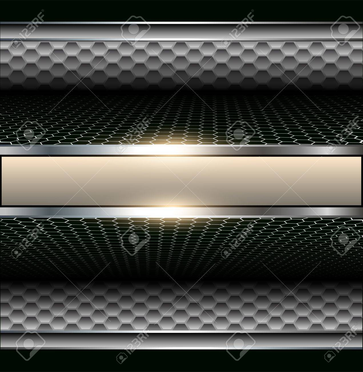 Background 3d metallic with banner for text. Stock Vector - 14554069