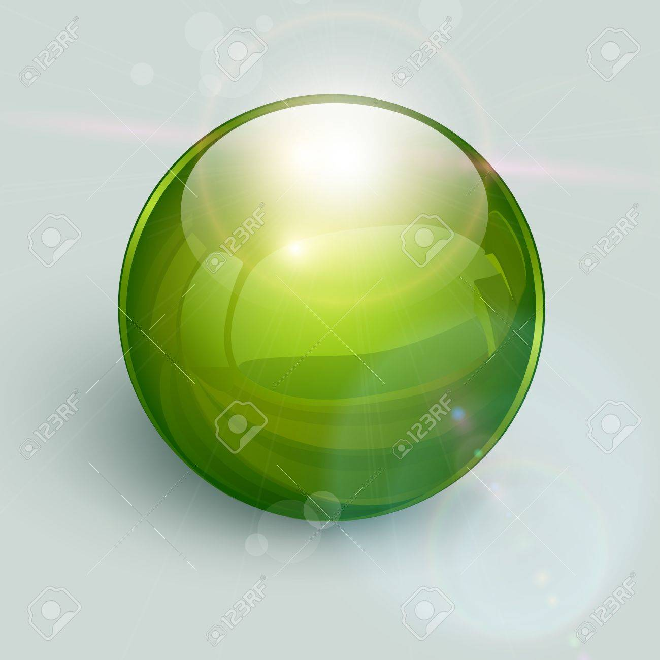 Green glass ball on background with lens flares Stock Vector - 14678743