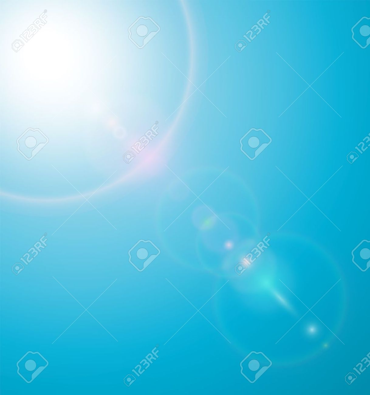 Sun on blue sky with lenses flare  illustration Stock Vector - 14944999