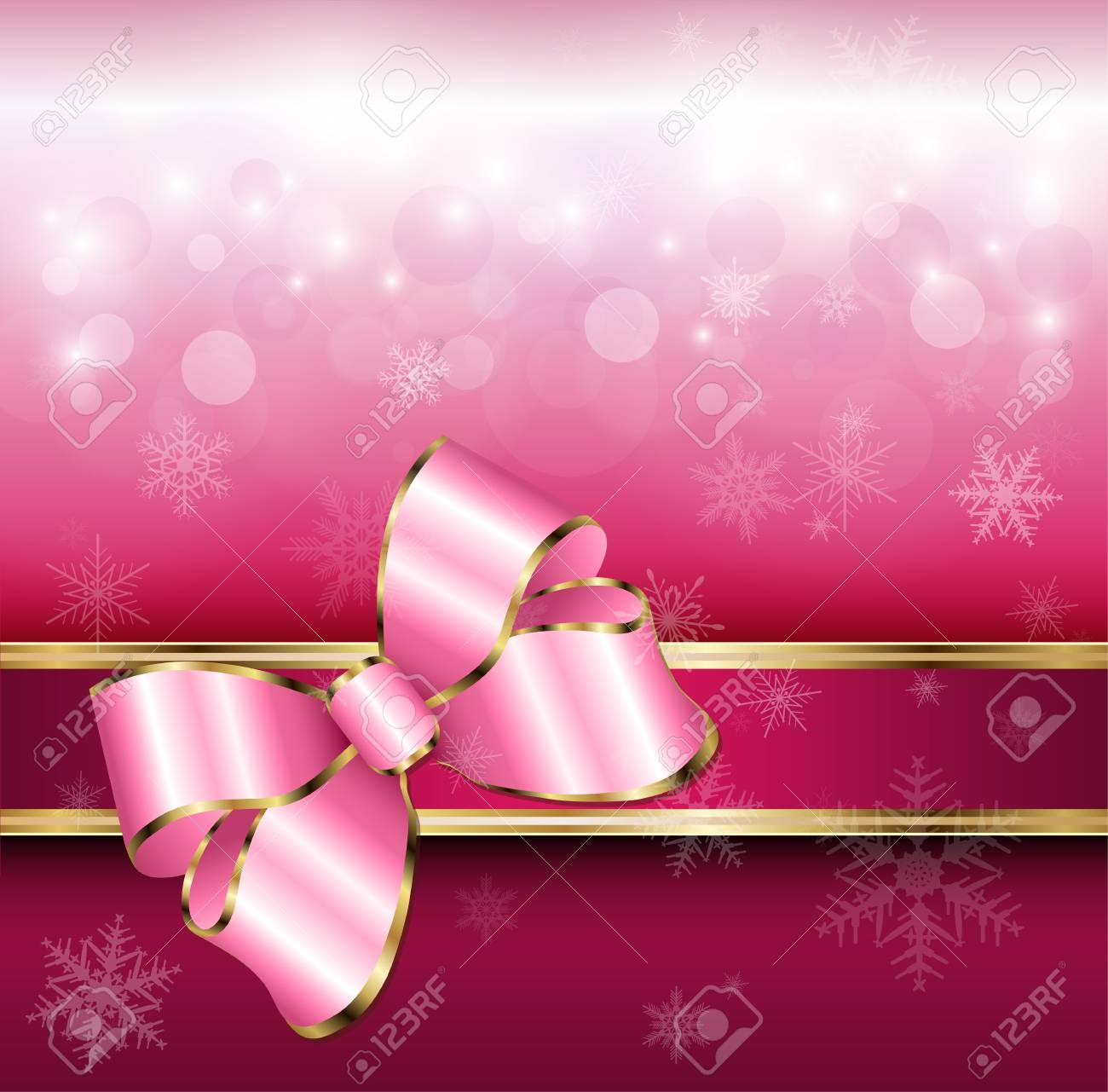 Abstract background with snowflakes and a bow, for Christmas and New Year design, vector. Stock Vector - 16400108