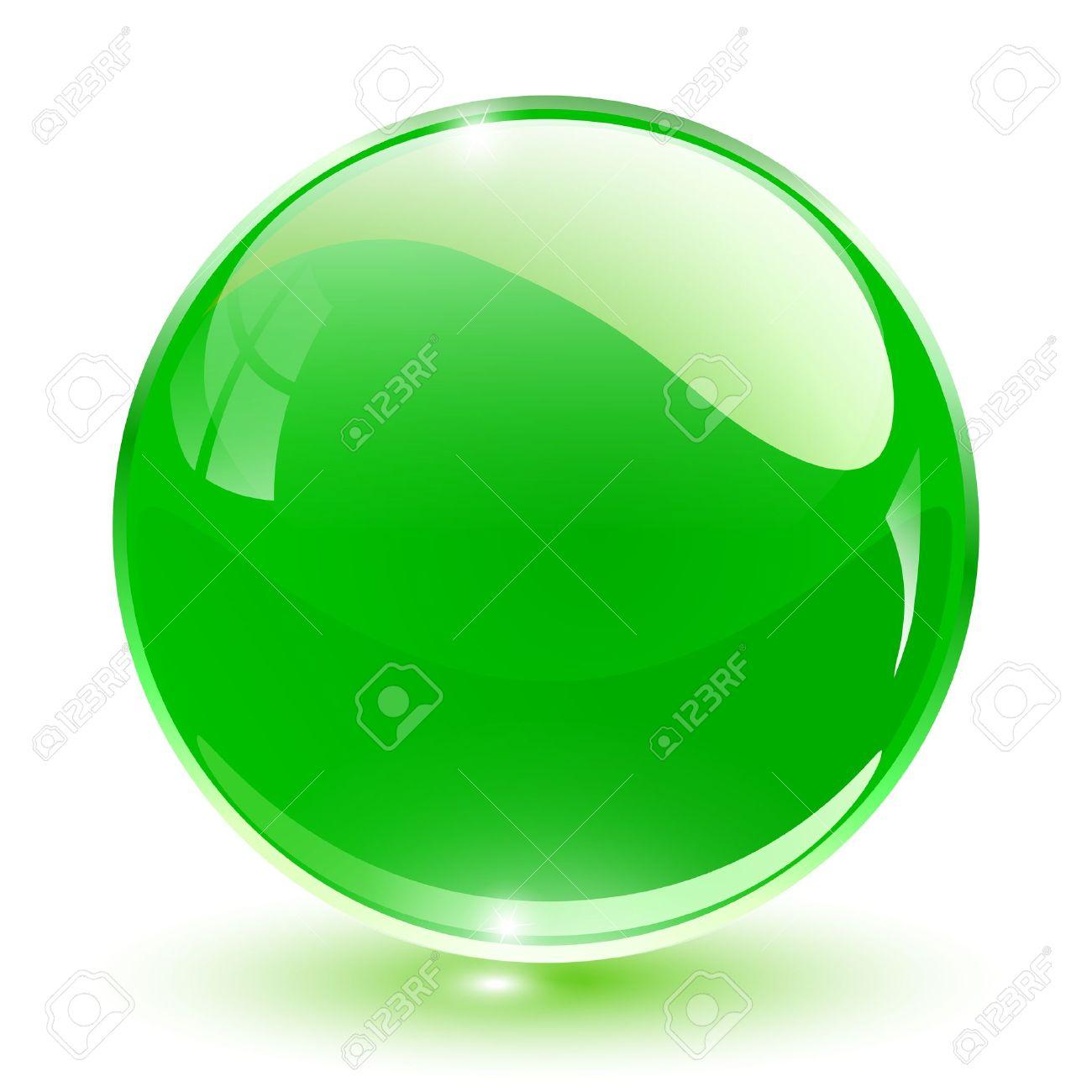 3D crystal sphere green, illustration. - 16557121