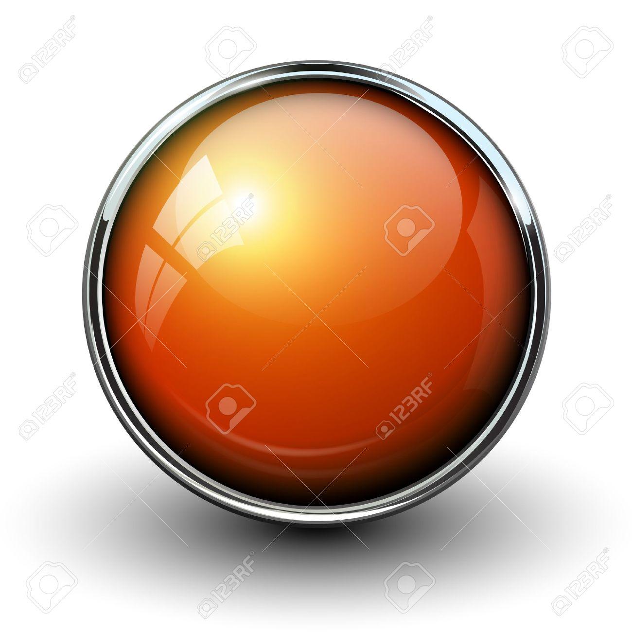 Orange shiny button with metallic elements, vector design for website. Stock Vector - 16798259