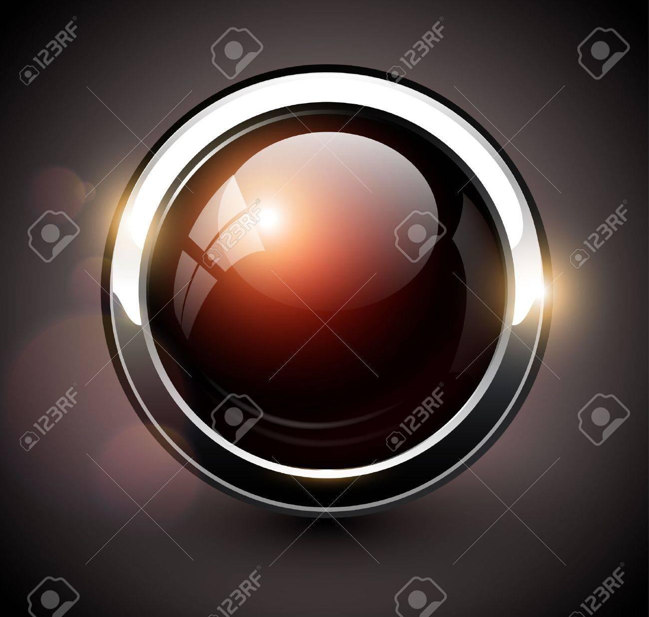 Elegant shiny button with metallic elements, vector design for website. Stock Vector - 17105978