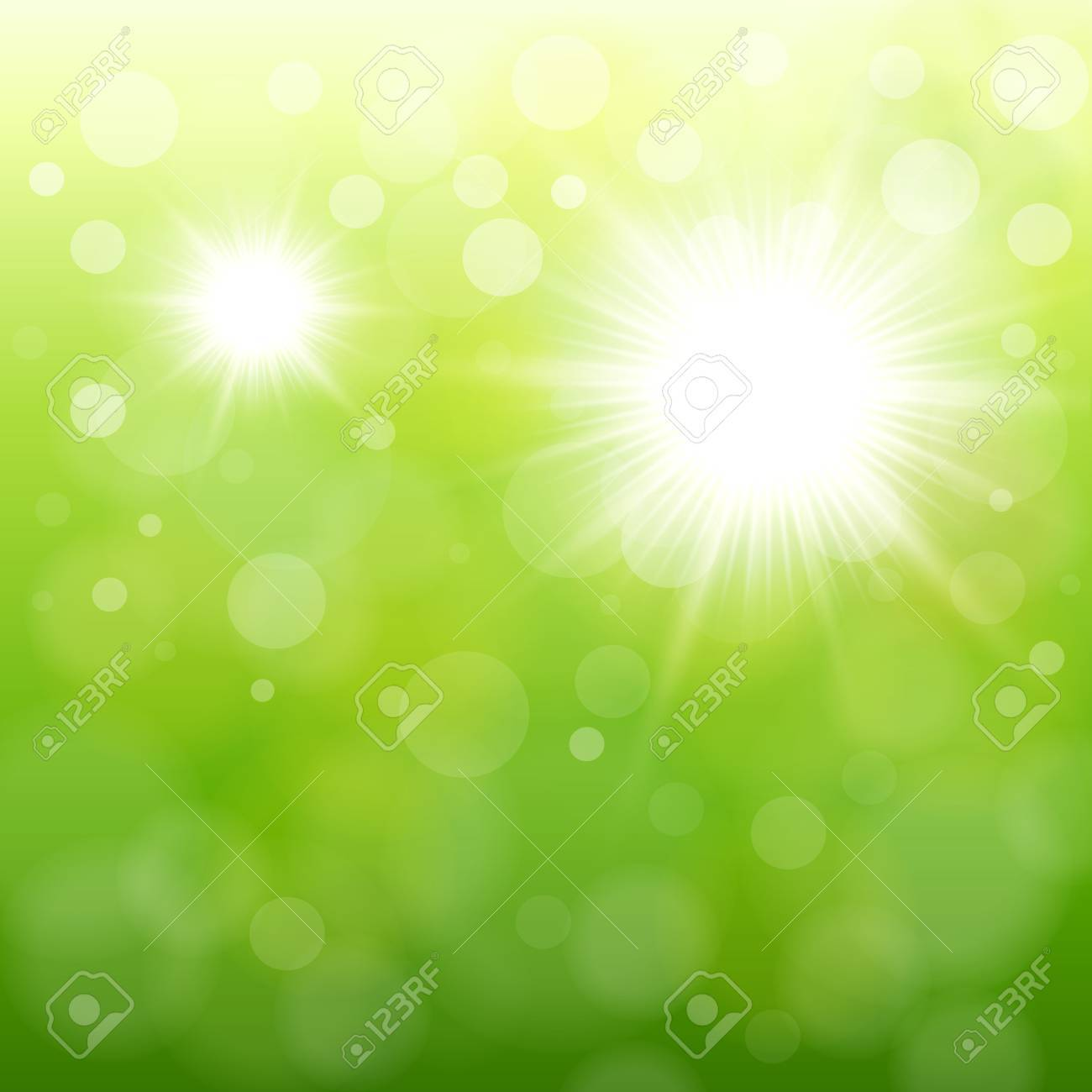 Natural green background with vector sun. Stock Vector - 17105980