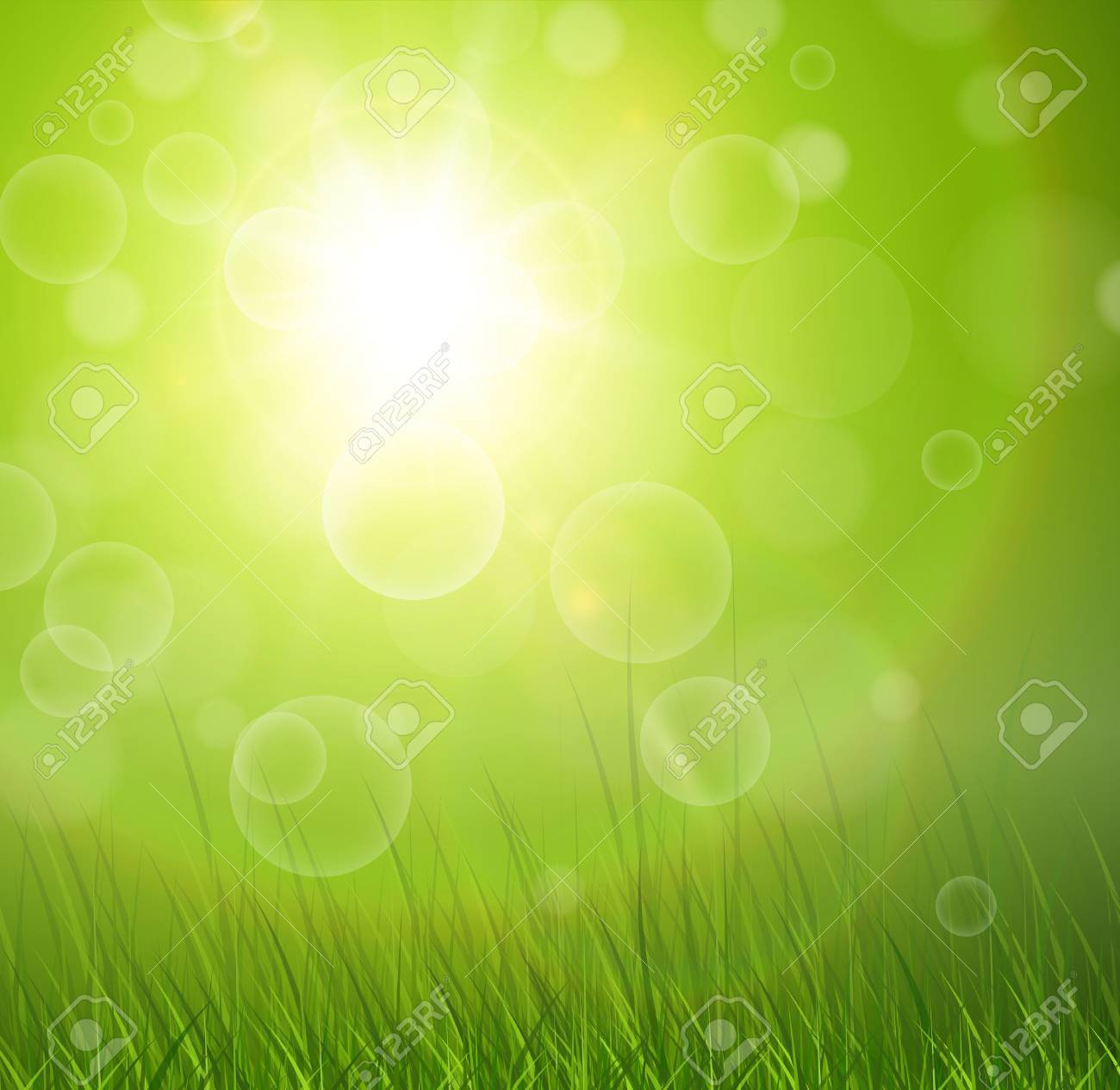 Natural green background with sun and grass. Stock Vector - 17226341