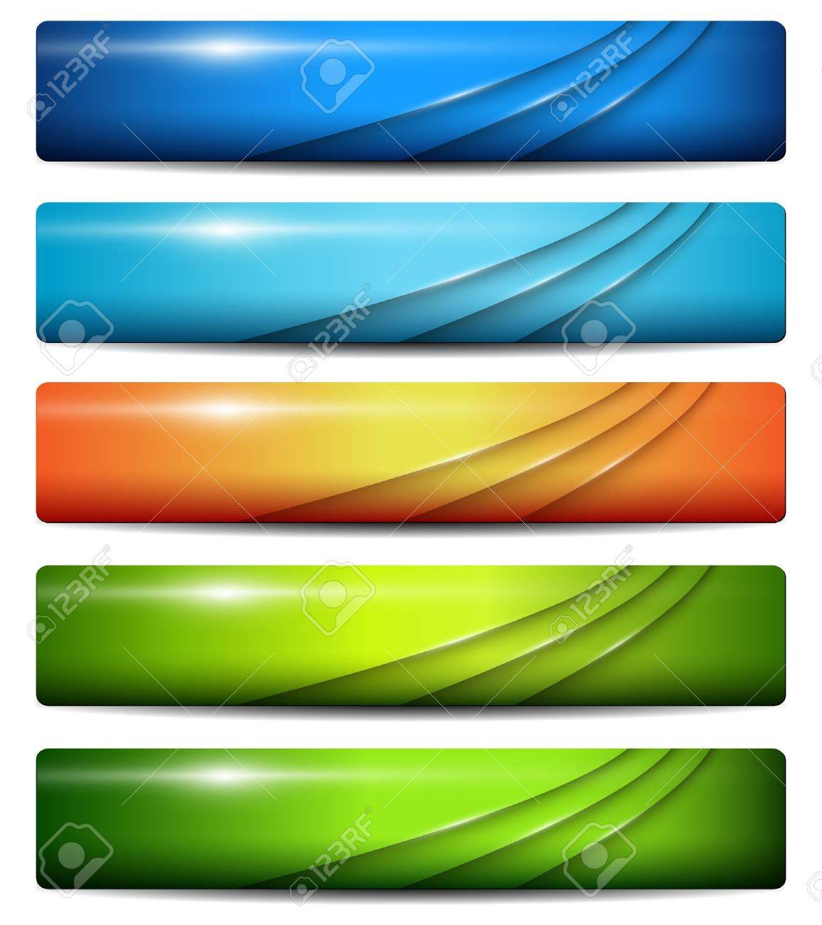 Banners, headers colorful glossy, vector. Stock Vector - 18524147