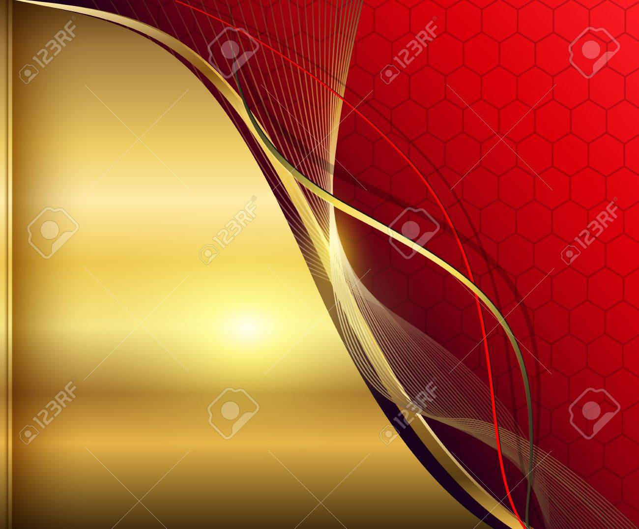 Elegant abstract background red and gold. Stock Vector - 18524146