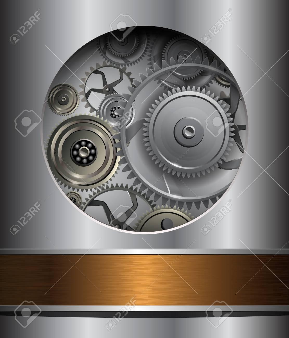 Technology background, 3D metallic  gears. Stock Vector - 18677502