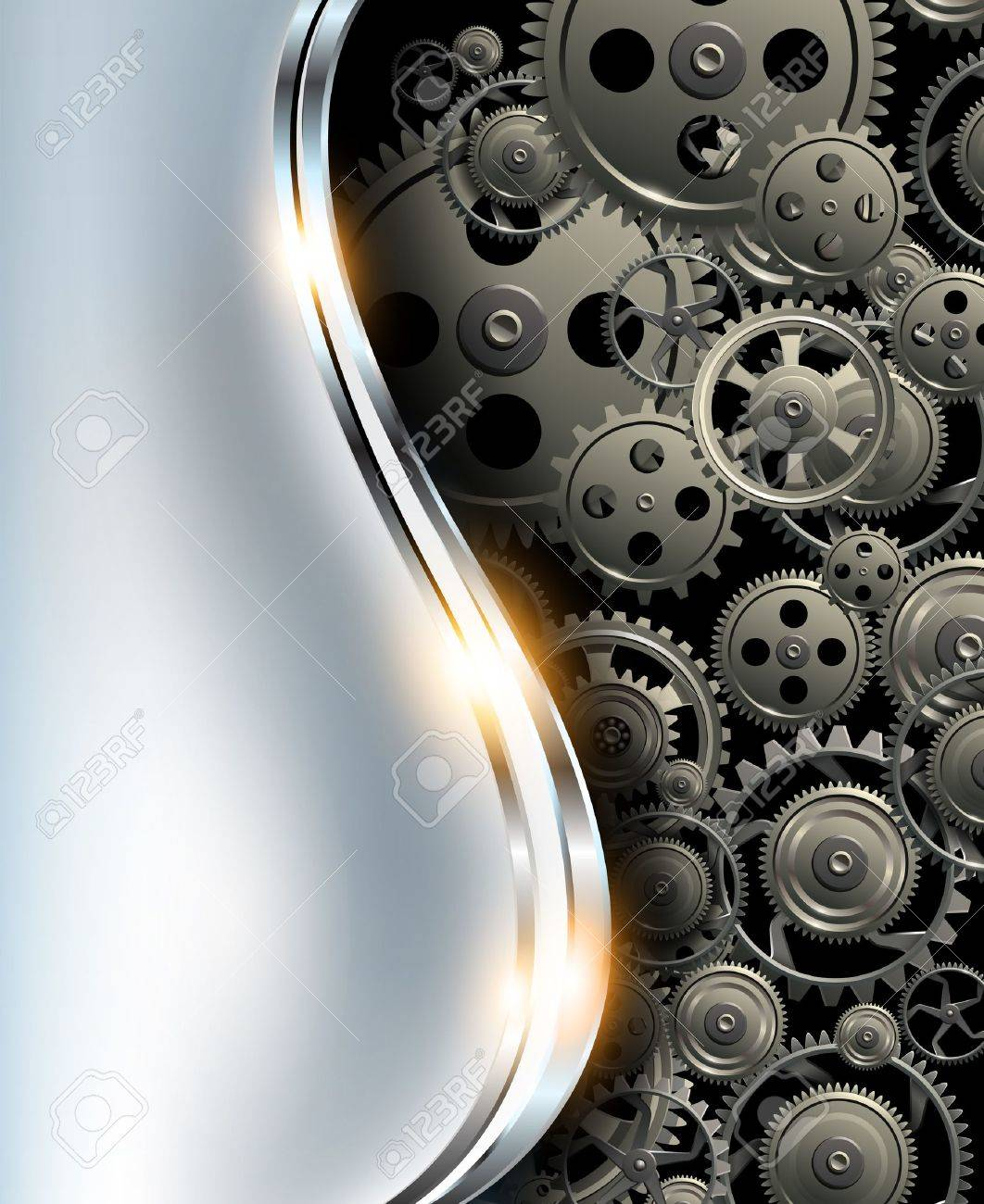 Abstract background metallic chrome silver with gears, vector. Stock Vector - 18853888