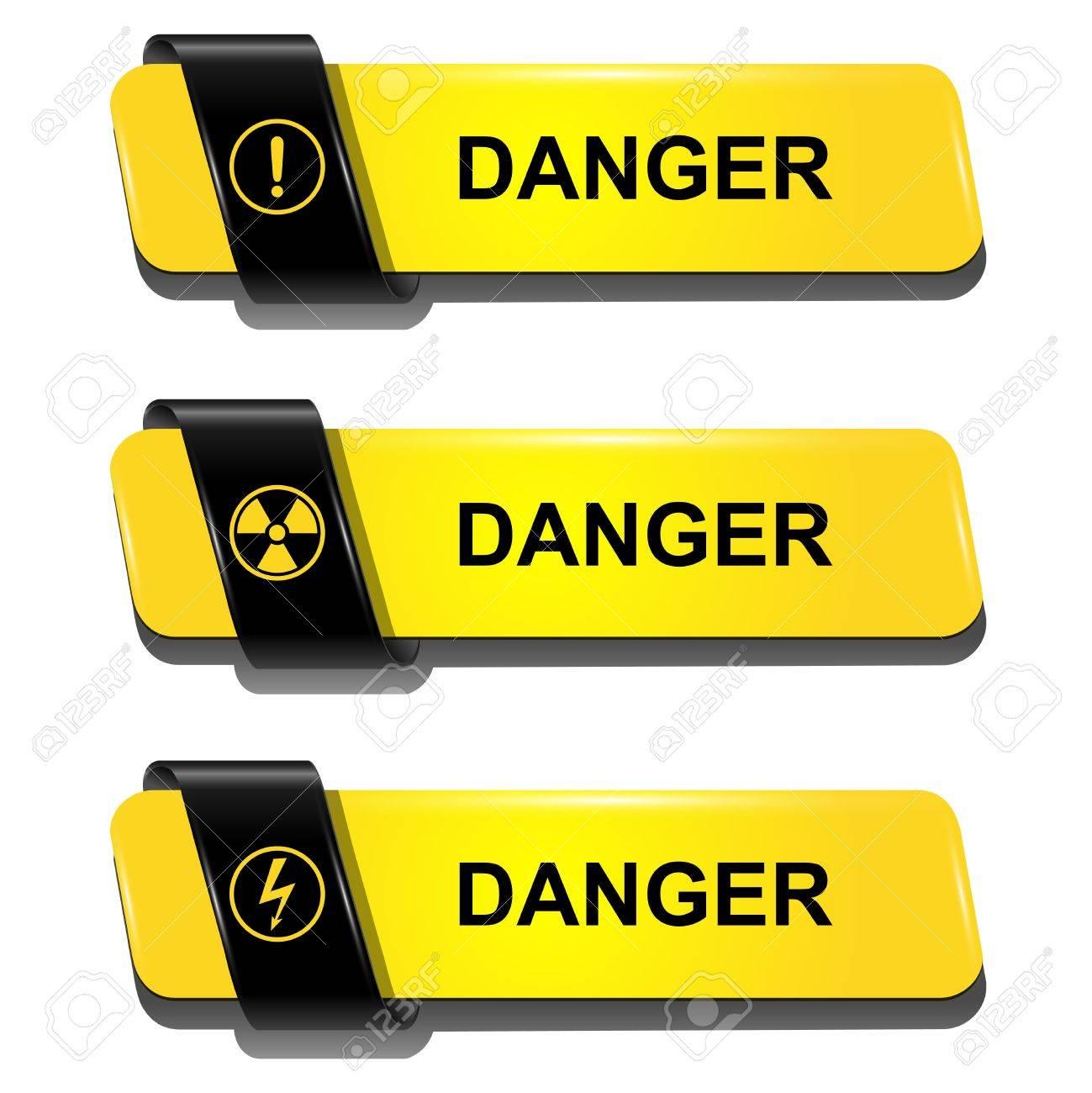 Danger buttons, signs vector set. Stock Vector - 19104915