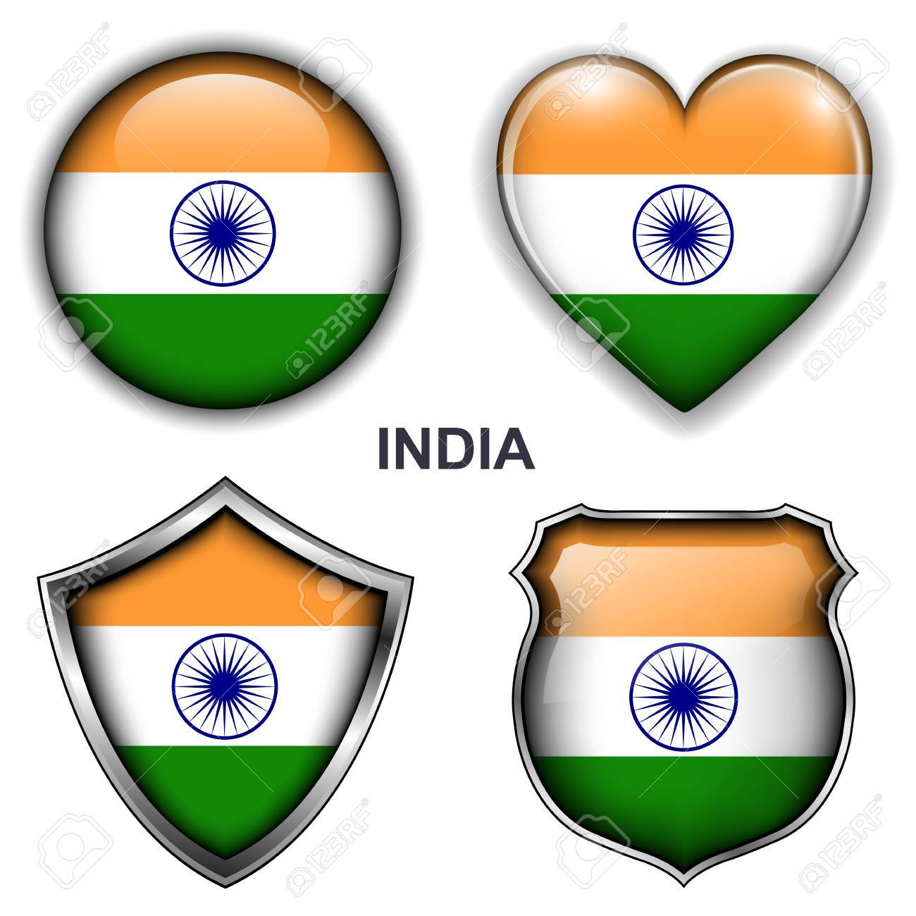 India flag icons,  buttons Stock Vector - 20343812