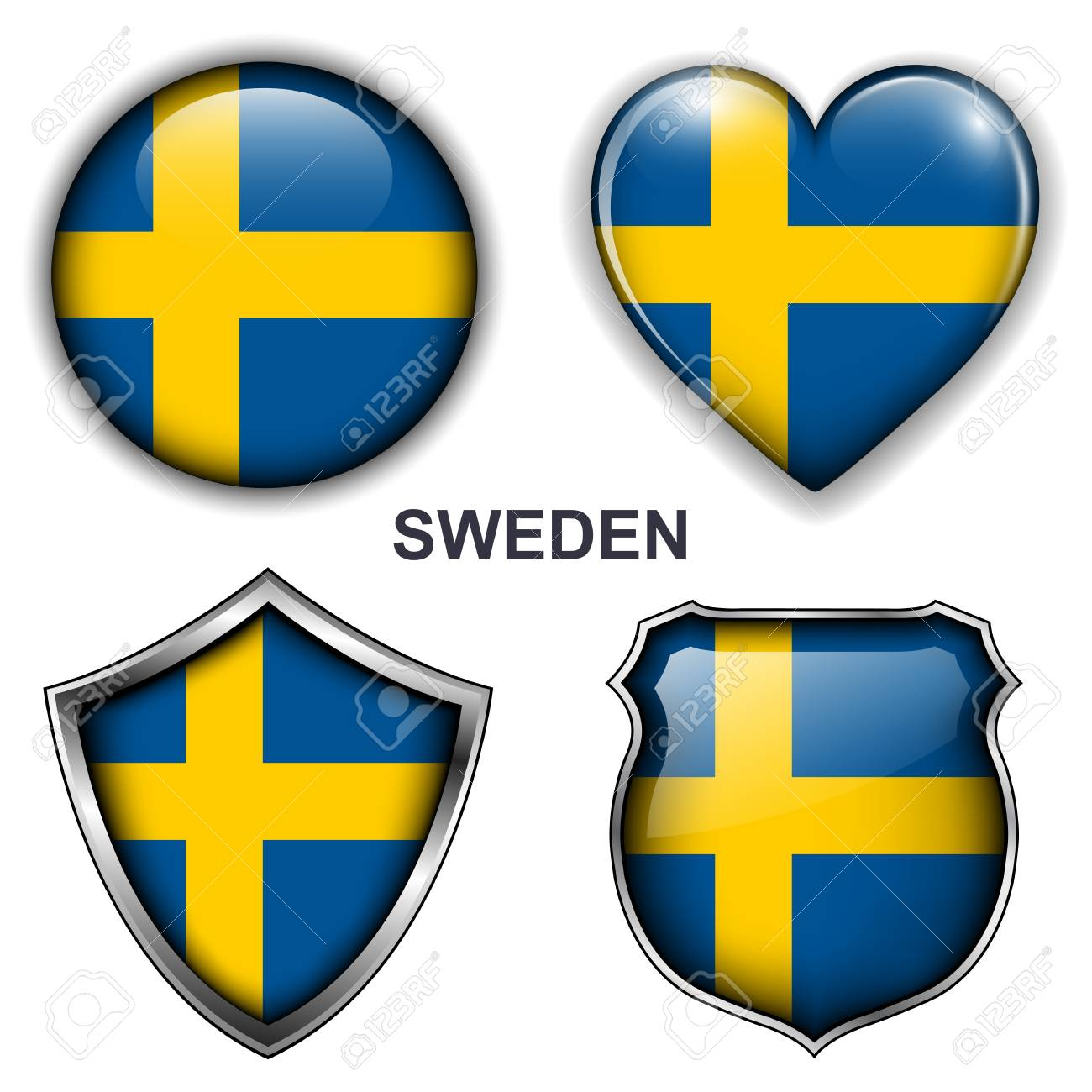 Sweden flag icons, buttons Stock Vector - 20344005
