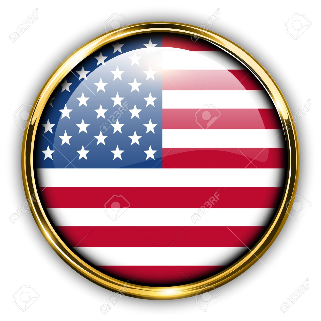 USA, United States America flag button, vector. Stock Vector - 21734579