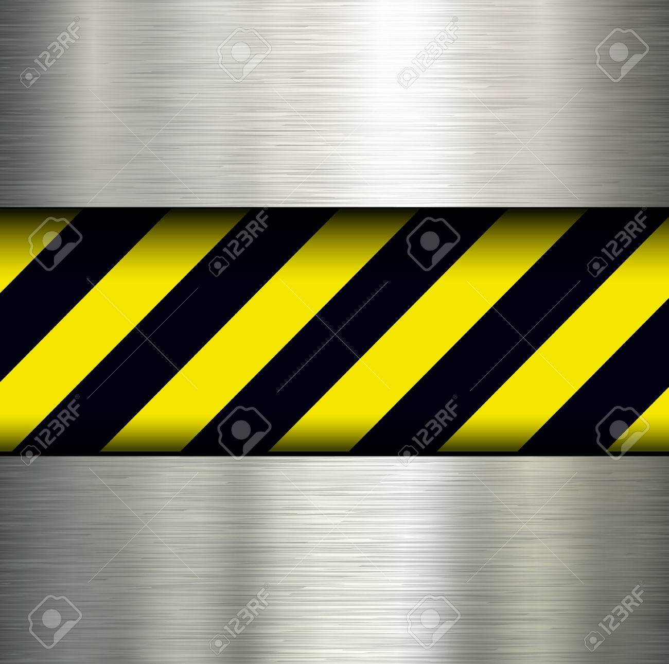 Metallic background with warning stripes, vector illustration. Stock Vector - 26160930