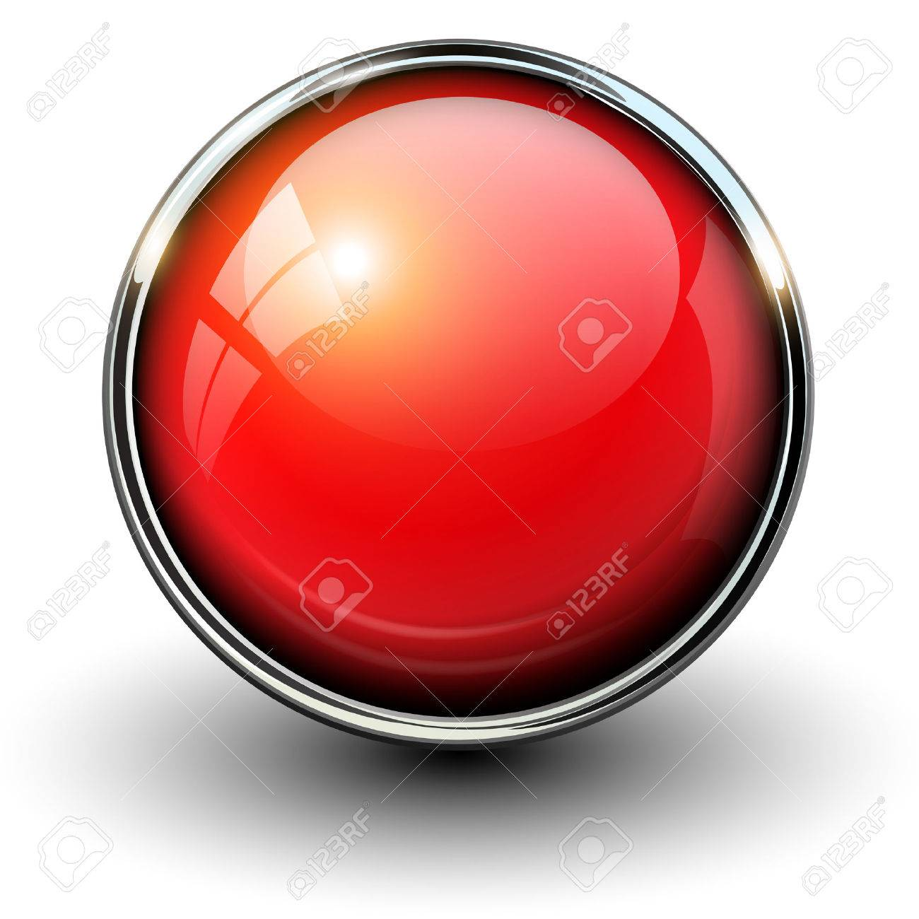 Red shiny button with metallic elements, vector design for website. - 40955288
