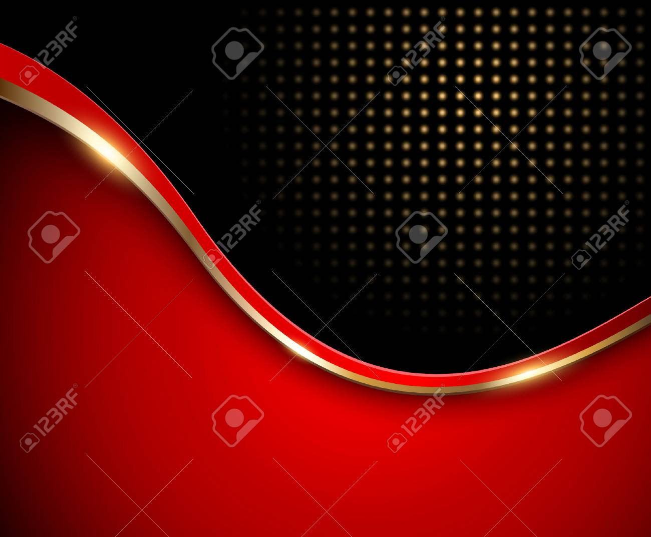 Abstract background red with gold wave and dotted pattern, vector - 45111992