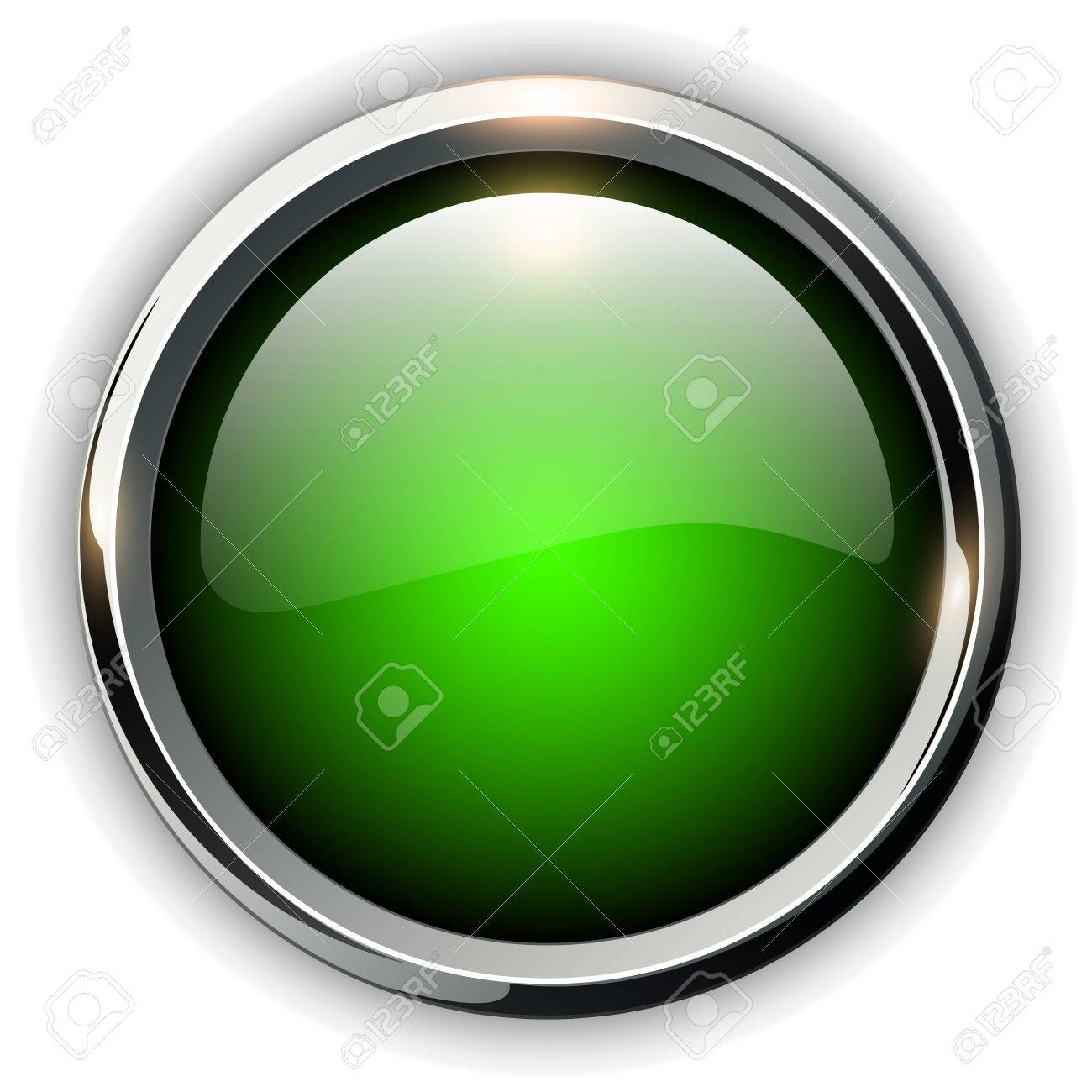 Green shiny button with metallic elements, vector design for website. - 48083454