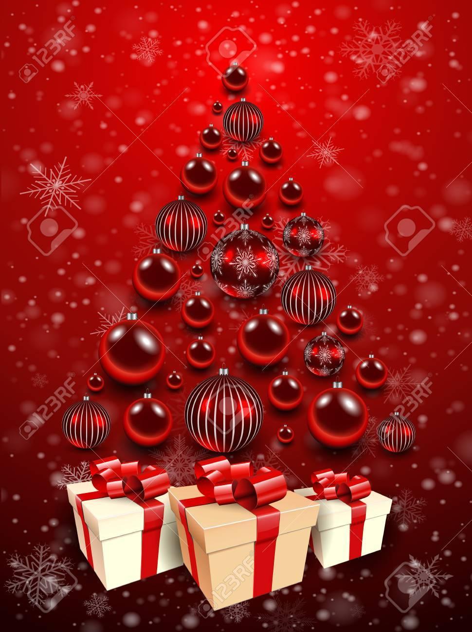 Weihnachten Hintergrund Rot Mit Weihnachtsbaum, Geschenk-Box Und ...