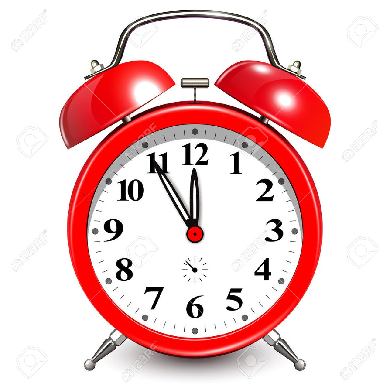 alarm clock with five minutes to twelve oclock stock vector 49361620