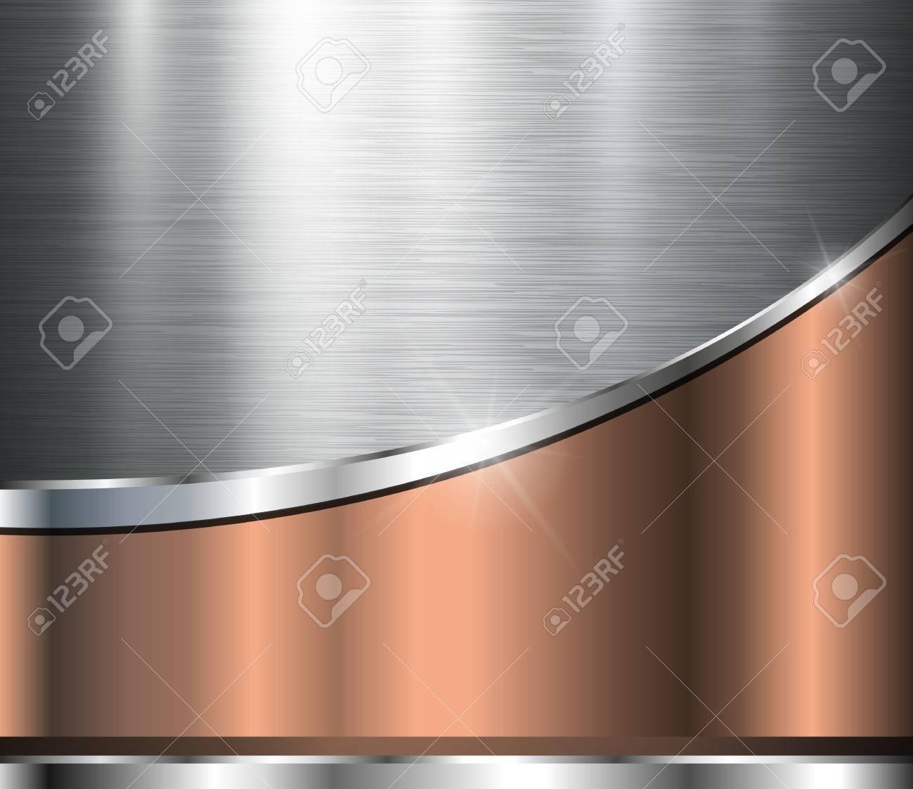 Metallic background polished steel texture, vector design. - 49361624