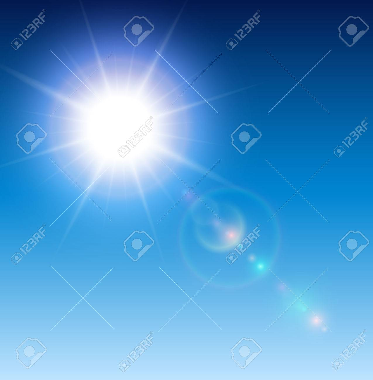 Sun with lens flare, vector background. - 51296727