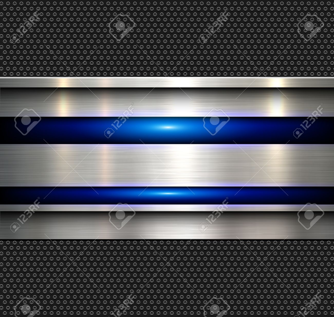 Background, polished metal texture with blue glossy lines, vector illustration. - 51746748
