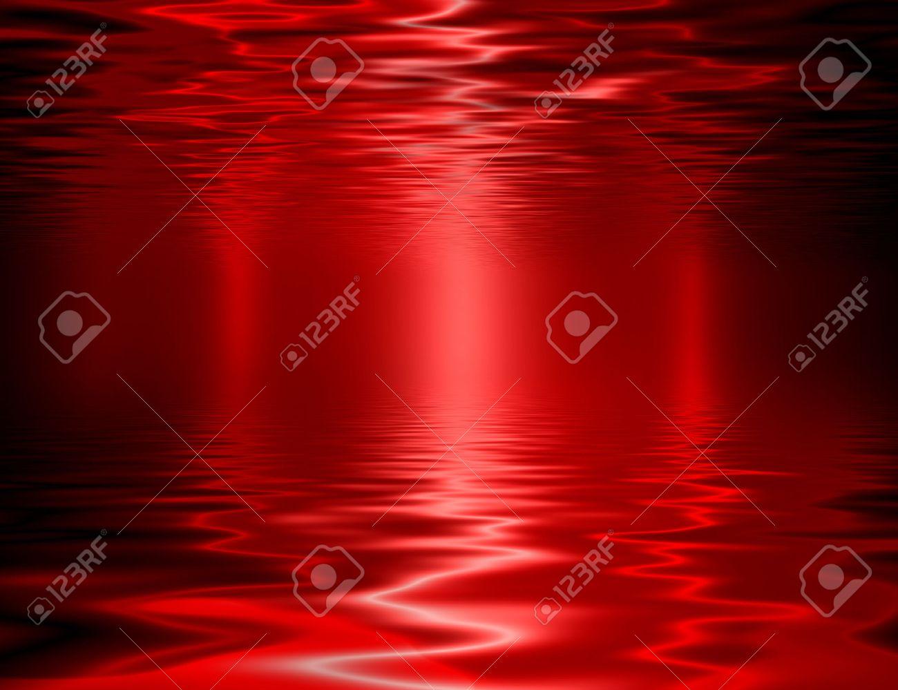 Liquid metal texture, red metallic background. - 66089384