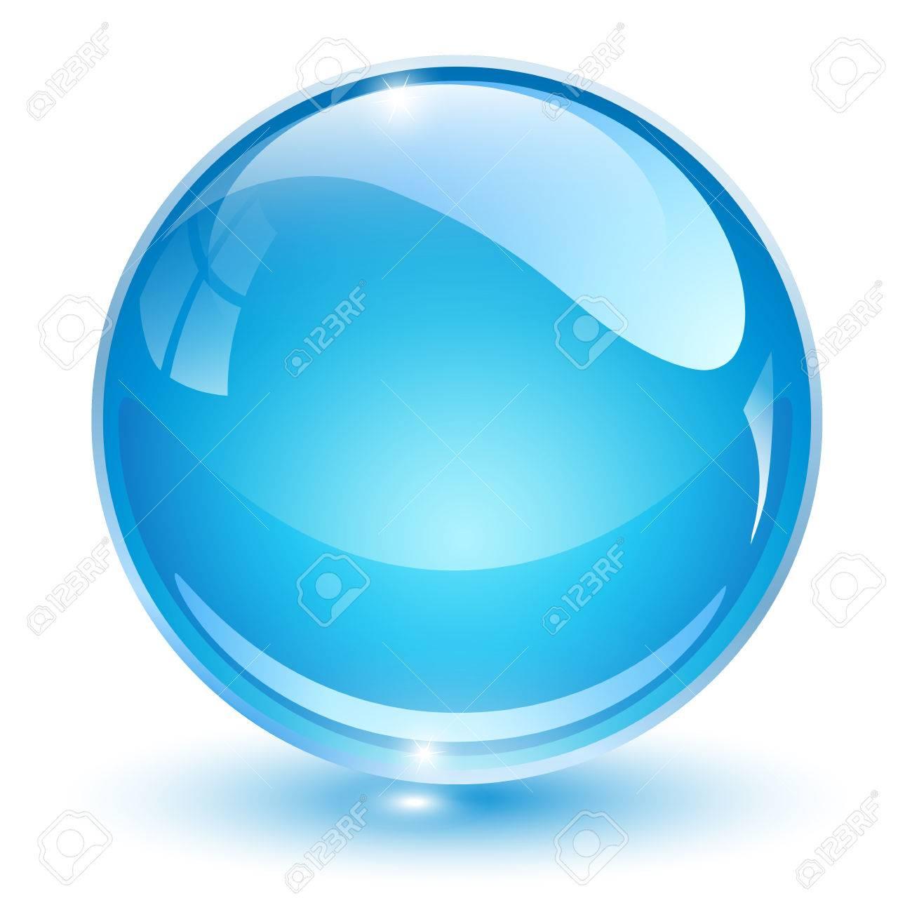 Glass sphere, blue 3D vector ball. - 71910383