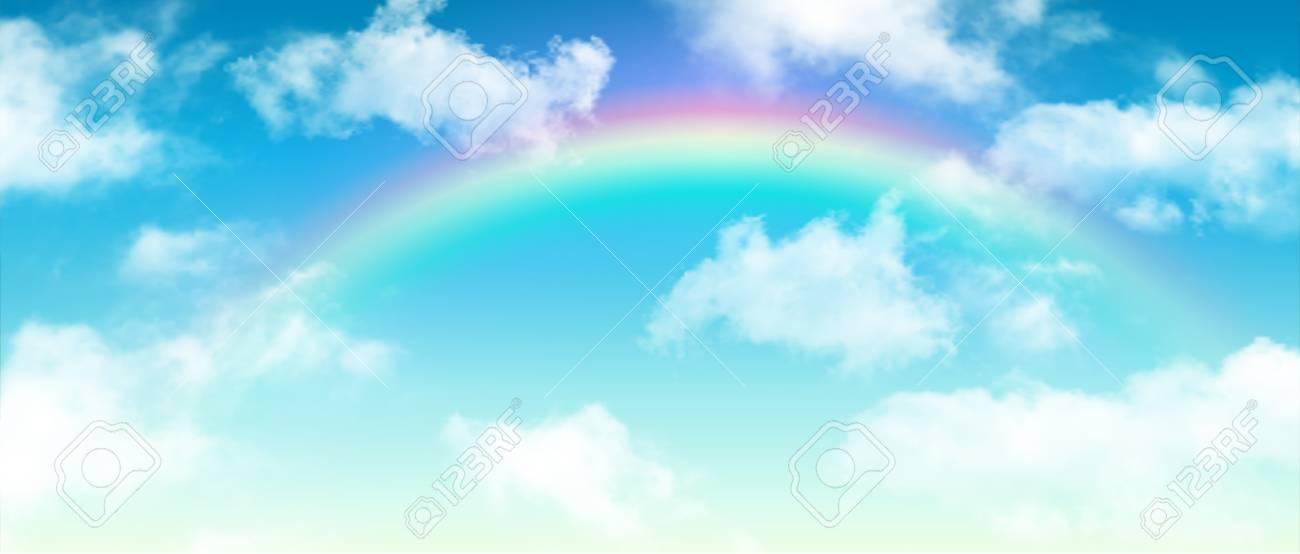 Nuages Fond Bleu Ciel Avec Arc En Ciel Fond De Vecteur Météo