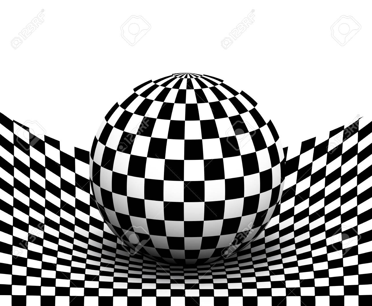 Background 3d black and white checkered distorted space with sphere inside vector illustration stock