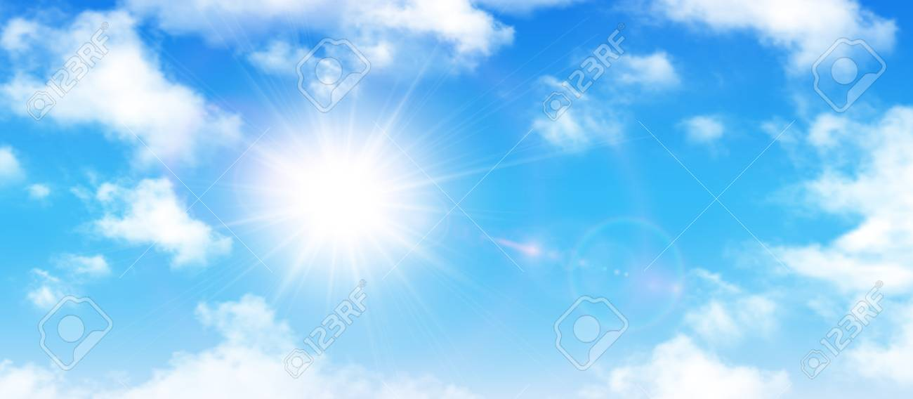 Sunny background, blue sky with white clouds and sun, vector illustration. - 93278577