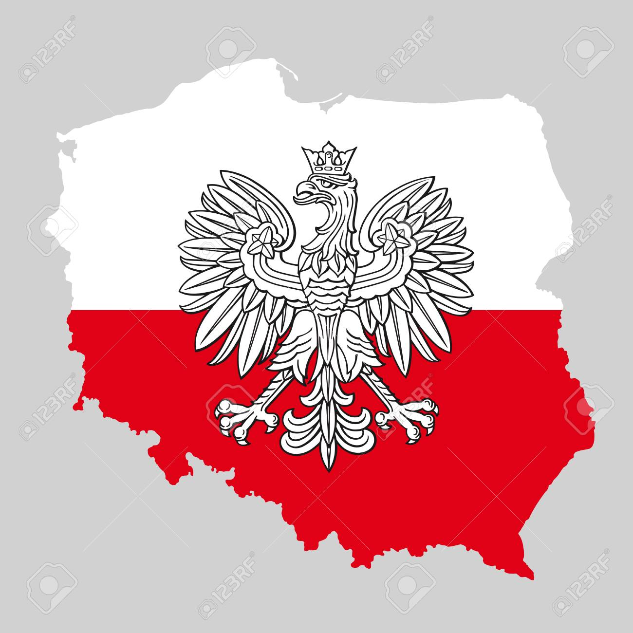 Poland Map With Eagle And White Red Polish Flag, Vector National ...