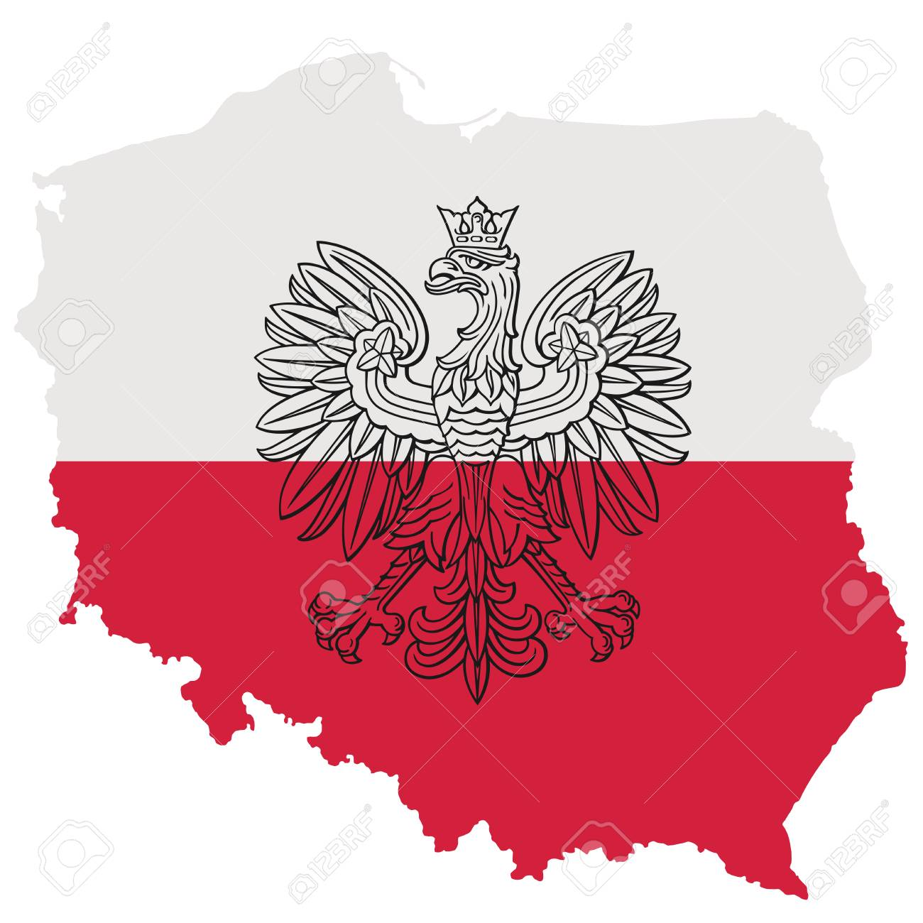 Poland Flag Map Poland Map With Eagle And White Red Polish Flag, Vector National
