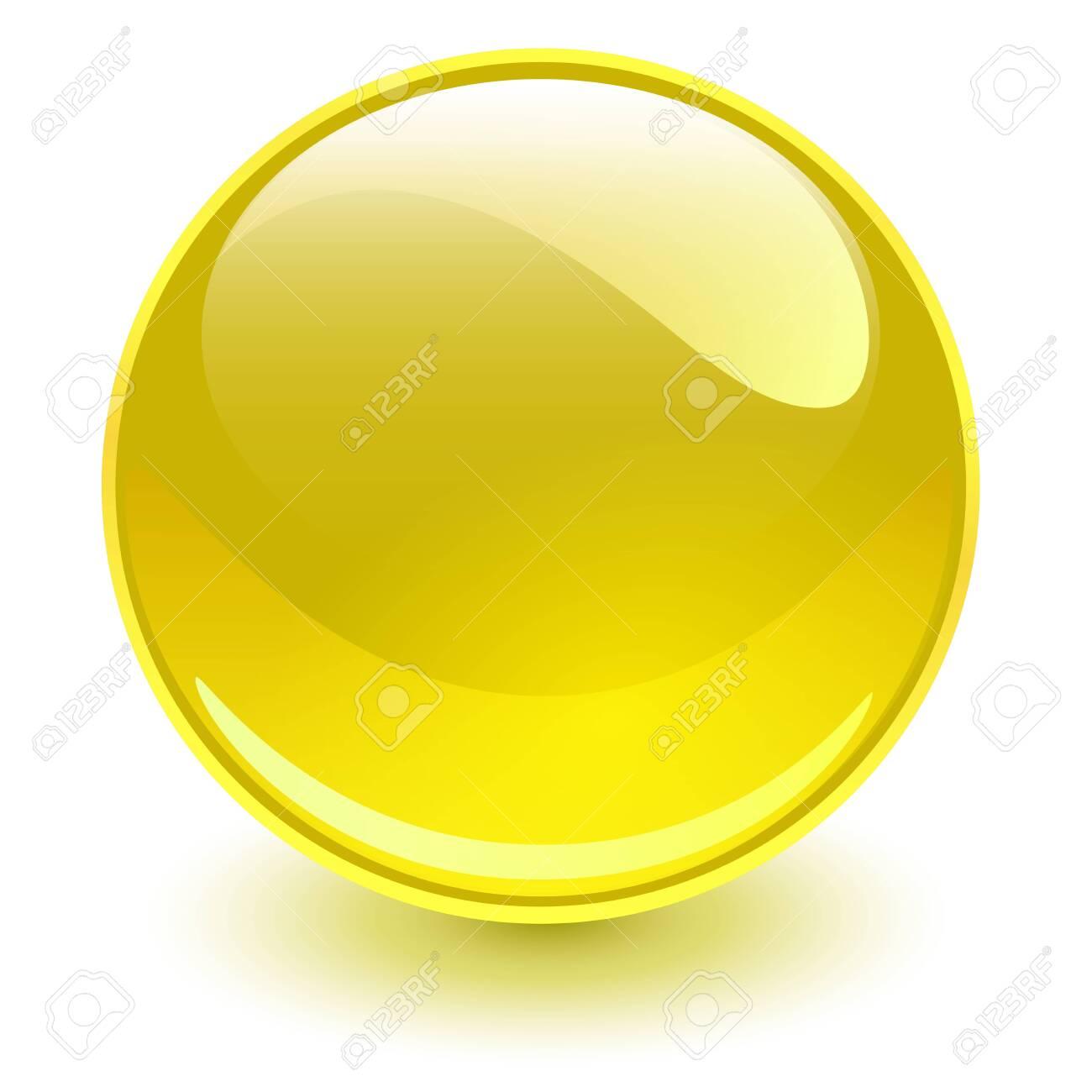 Glass sphere yellow, vector shiny ball. - 124107932